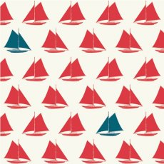 Set Sail Sailboats Apple Red Organic Cotton