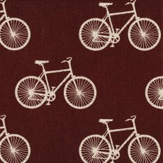 Echino Nico Cycling Chocolate  Very cool bicycles printed on a gorgeous medium weight cotton linen blend forms part of the fabulous NEW Echino Nico fabric collection by talented Japanese designer Etsuko Furuya for KokkaE. Please Click the image for more information.