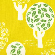Trees of Leaves on Mustard-Yellow Beautiful contemporary fabric design of trees filled with leaves printed on a beautiful medium weight open weave textured cotton Th. Please Click the image for more information.