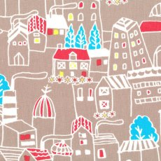 Isso Ecco Village Ecru From the Isso Ecco  Heart japanese fabric collection Village is a fun and colourful design printed on a sturdy medium weight cotton suitable for wall art bags general craft cushions  lampshades. Please Click the image for more information.