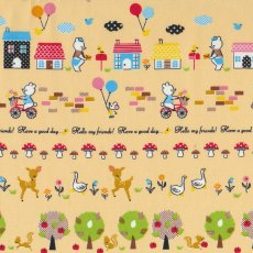 Happy Bear Village Bone Adorable japanese fabric  with sweet illustration of bears on bicycles and trains and delivering the post with mushrooms reindeer mice geese and squirrels Cur. Please Click the image for more information.