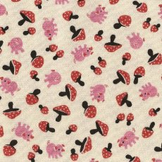 Pigs & Mushrooms Pink & Red Adorable Japanese fabric featuring sweet little pigs and mushroomsFabulous medium weight fabric that would suit childrens wall art apparel and home decorating projects. Please Click the image for more information.