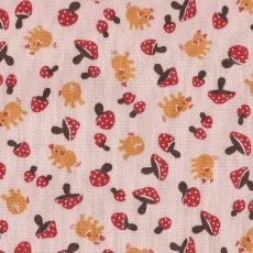 Pigs &amp; Mushrooms Red on Pink