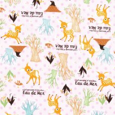 Eau de Mer Sweet Deer & Spot Pink Sweet japanese fabric featuring deers in the forest on a spotty soft pink background Please Click the image for more information.