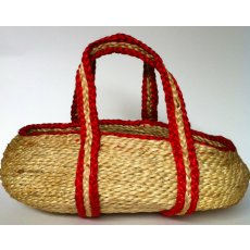 Jute Basket  A wonderfully strong and deep jute basket with beautiful red stiched handlesThe basket is ecofriendly and can be used to carry dolls or to store blocks inJute . Please Click the image for more information.