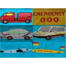 Emergency Services Bunting A large bunting depicting the australian emergency services on air sea and land and the 000 emergency numberA. Please Click the image for more information.