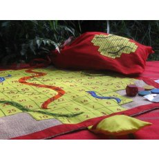Snakes & Ladders - Small The ever popular snakes and ladders game that is so neat and compact When you have finished playing the game the jute and cotton game is neatly folded away in its own drawstring bag G. Please Click the image for more information.