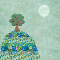 Green Tree Hand applied embroidery on printed card Please Click the image for more information.