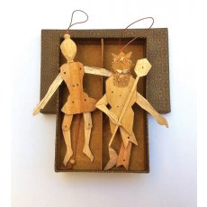 Neptune and Wife - Wooden Puppets A gorgeous  pair Neptune and wife  are handhewn wooden puppets that you can either leave raw or paint them and decorate them they hang with a piece  of string or can always stay snuggled in their box together of course Please Click the image for more information.