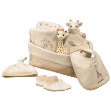 sophie the giraffe my first hours case This beautiful Sophie The Giraffe gift pack contains a Sophie the Giraffe rubber toy a bonnet slippers a large blanket 100 X 75 cm a comforter with dummy attachment a little bib and a basket to keep all babys things in Made from. Please Click the image for more information.