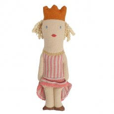 maileg princess rattle Our Maileg Princess rattle is wearing her hair in ringlettes is wearing a pink and white stripe dress with gold trim gold crown and gold shoes  . Please Click the image for more information.