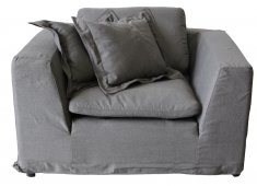 GREY 1.5 SEATER ARMCHAIR DENIM FABRIC IN DARK GREY COLOUR LOOSE REMOVABLE COVER Please Click the image for more information.