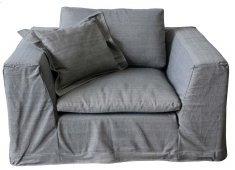 GREY/BLUE 1.5 SEATER ARMCHAIR SUPER SPECIAL LESS THAN HALF PRICEFABRIC IS A LIGHT DENIM FABRIC IN A GREYBLUE COLOUR REMOVABLE COVERS Please Click the image for more information.