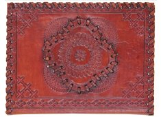 BRN LEATHER EMBOSSED NOTEBOOK