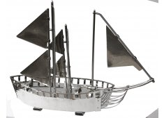 MODEL SAILING SHIP-CHROME CHROME PLATED DECORATIVE SHIP Please Click the image for more information.