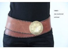 'BIG BRASS BETTY' BELT A tan wide belt with a large brass etched buckle Brown leather stitching all round the belt edge Please Click the image for more information.