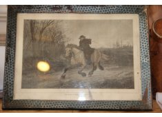 FRAMED VINTAGE PRINT BELATED TRAVELER A beautiful French antique print framed  The print is called The belated traveler A CERTIFICATE  of authenticity is supplied. Please Click the image for more information.