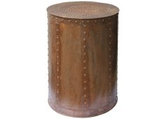 DRUM SIDE TABLE-RUSTY IRON LOOK WITH STUD DETAIL ON SIDES HANDMADE IN INDIA Please Click the image for more information.