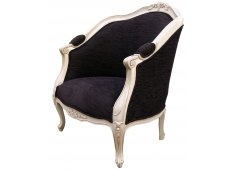 PROVINCIAL TUB CHAIR-BLACK WITH WOOD WHITE WASHED WOOD WITH BLACK FABRIC Please Click the image for more information.