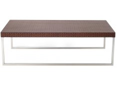 LATTICE COFFEE TABLE-MID BROWN BAMBOO WITH DECORATIVE PATTERN  STAINLESS LEGS Please Click the image for more information.