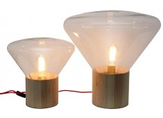 WOOD & GLASS TABLE LAMP MODERN DESIGN FROM EUROPE WE SUPPLY SPARE LIGHT BULBS Please Click the image for more information.