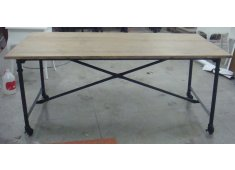 STEEL & WOOD DESK MODERN INDUSTRIAL IRON BASE WITH SOLID ASH WOOD WITH CASTER WHEELS Please Click the image for more information.