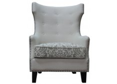 WING ARM CHAIR-BEIGE/IKAT CUSHION LIGHT BEIGE FABRIC WITH IKAT CUSHIONDARK BEIGE  LIGHT BEIGE Please Click the image for more information.