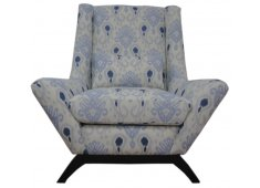 FABRIC ARM CHAIR-BLUE IKAT BLUE  OFFWHITE IKAT FABRIC AS SHOWN Please Click the image for more information.