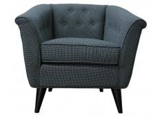 FABRIC ARM CHAIR-CHARCOAL GREY CHECK FABRIC HAS A FINE CHECK PATTERN Please Click the image for more information.
