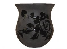 CANDLEHOLDER GLASS-BLACK Beautifully crafted this bell shaped candle holder is made of opaque glass and features a lovely and carefully etched rose design. Please Click the image for more information.