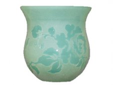 CANDLE HOLDER-GLASS-GREEN Beautifully crafted this bell shaped candle holder is made of opaque glass and features a lovely and carefully etched rose design. Please Click the image for more information.