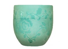 CANDLEHOLDER GLASS-GREEN Beautifully crafted this U shaped candle holder is made of opaque glass and features a lovely and carefully etched rose design. Please Click the image for more information.