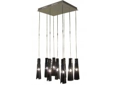 TRUMPET BLACK GLASS PENDANT SET/9 NINE BLACK GLASS PENDANTS ON ONE CEILING PANEL SUPER SPECIAL PRICE Please Click the image for more information.