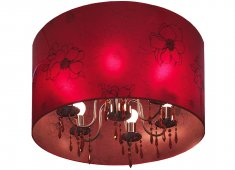 CHANDELIER WITH DRUM SHADE PERSPEX OPAQUE RED SHADE WITH FLOWER DESIGN OVER GLASS CHANDLIER Please Click the image for more information.