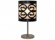 WOOD CUTOUT LAMP-BLACK LAZER CUTOUT SHADE WITH STAINLESS STEEL BASE Please Click the image for more information.