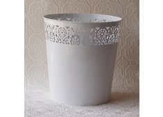 ROUND METAL WASTE BASKET DECORATIVE CUTOUT DESIGN Please Click the image for more information.