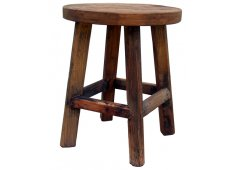 ROUND LOW STOOL-WHITE WASH WHITE WASHED RECYCLED WOOD RANGE RUSTIC WITH SLIGHT IMPERFECTIONS THAT ARE PART OF THE CHARM OF OUR RECYCLED TIMBER FURNITURE RANGE  NOT FAULTSIMAGE OF NAT FINISH Please Click the image for more information.