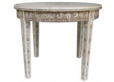 ROUND BONE INLAY TABLE THIS CAMEL BONE TABLE HAS DELICATE HAND CARVINGS  INLAY WORK THERE ARE ALSO OTHER ITEMS AVAILABLE MADE OF BONE. Please Click the image for more information.