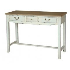 """Homestead"" Desk Hall Table Console 3 Drawer  This beautiful Homestead Desk 3 drawer Console with its white distressed finish will add the perfect touch to your home  F. Please Click the image for more information."