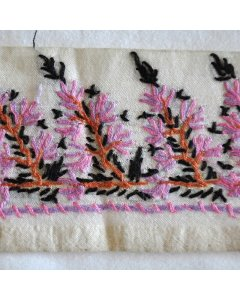Fabric Trim in Pink This vintage ribbon fabric trim has been cut from a cream silk vintage saree  All embroidered needle work is hand done in pink purple dark orange and black  On. Please Click the image for more information.
