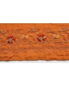Fabric Trim in Orange This exceptionally lovely vintage ribbon fabric trim has been cut from a burnt orange chiffon silk vintage saree. Please Click the image for more information.