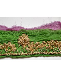 Fabric Trim in Green This vintage beaded ribbon fabric trim has been cut from a green crepe silk vintage saree  It has been exquisitely hand embroidered with  metallic threads and beadwork  . Please Click the image for more information.