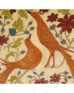Birds: Kantha Embroidered Silk