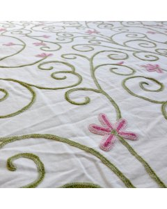 Pretty in Pink Crewel Upholstery Fabric This beautiful crewel embroidered fabric is remarkable for both its timeless design and exquisite craftsmanship. Please Click the image for more information.