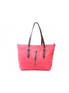 H0493 FASHION HANDBAG  AVAILABLE IN PINK BLACK ORANGE OR BLUE WITH BROWN STRAPS Please Click the image for more information.