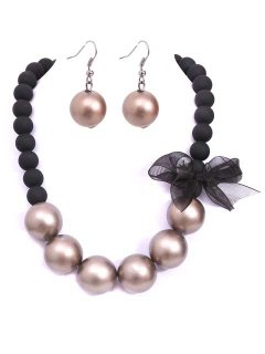 1653B XTRA LARGE BEAD NECKLACE  EARRING SET AVAILABLE IN MOCHA CREAM OR GREY Please Click the image for more information.