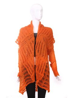 P112A OPEN KNIT SHAWLJACKET AVAILABLE IN BLACK ORANGE GREEN OR BEIGE Please Click the image for more information.