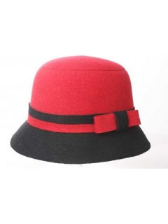 HA0198 WINTER FELT HAT  RED BLK  ORANGEBLK OR BEIGEBLACK WITH A BOW TRIM Please Click the image for more information.