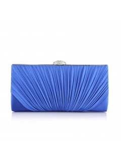 H0608A BLUE PLEATED SATIN EVENING BAG Please Click the image for more information.