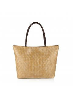 H0596A BEIGE WOVEN HANDBAG WITH ANIMAL PRINT SCARF Please Click the image for more information.
